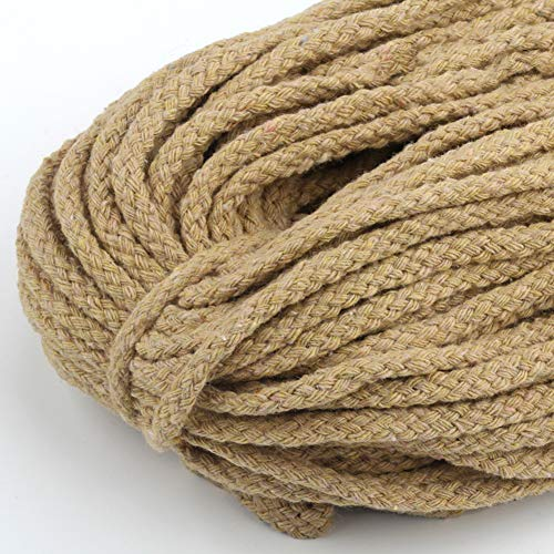 Almabner Cuerda de macramé, 5 mm, 100 m, cuerda de algodón natural, cuerda trenzada colorida, decoración para colgar...