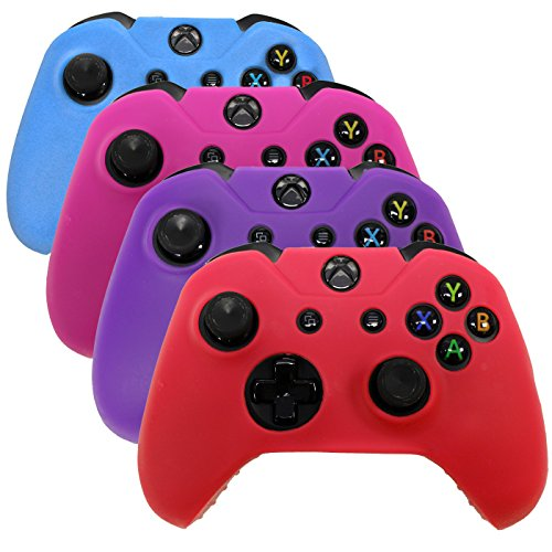 HDE Controller Protective Case for Xbox One Controllers - 4 Pack Soft Anti-Slip Silicone Controller Cover Skins (Blue, Red, Purple, Pink)