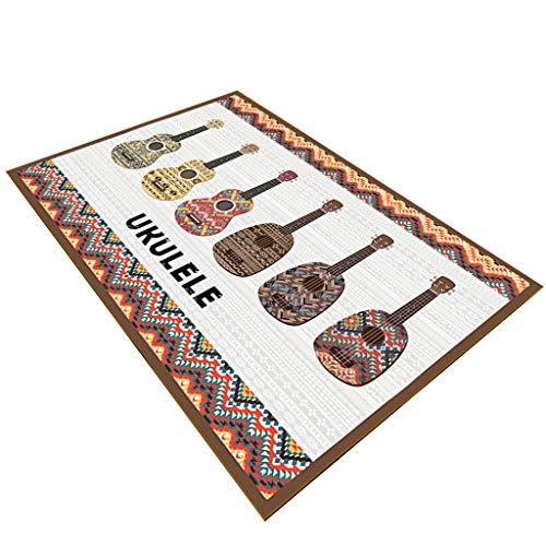 ZHENG Teppiche Matten Teppiche Teppich Kurze Flusen 8mm Fußmatten Teppich 3D Gitarre Musik Design rutschfeste Waschbar Couchtisch Pads for Wohnzimmer Schlafzimmer (Farbe : C, Größe : 140x210cm)