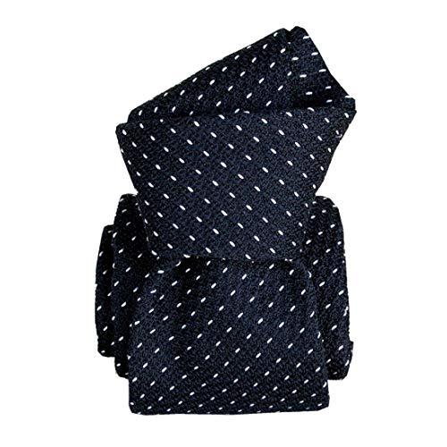 Segni et Disegni. Cravate grenadine de soie. Premium, Soie. Bleu, Discret et sobre. Fabriqué en Italie.