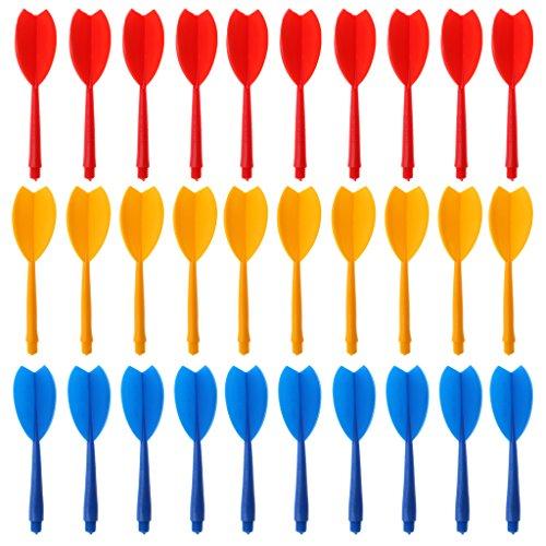 Darts Schäfte mit Darts Flights für 2BA Darts Barrels, 30 Stück/Set - Rot Gelb Blau