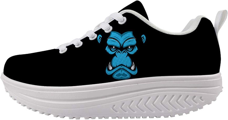 Owaheson Swing Platform Toning Fitness Casual Walking shoes Wedge Sneaker Women Vicious Gorilla Face