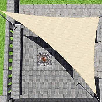 Patio Paradise 8  x8 x 8  Beige Sun Shade Sail Triangle Canopy - Permeable UV Block Fabric Durable Outdoor - Customized Available…