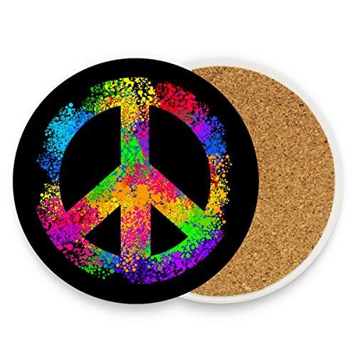 Sous-verres en céramique absorbants pour boissons – Hippie symboles d'amour et de paix – Lot de 2 dessous de verre en liège pour décoration de table
