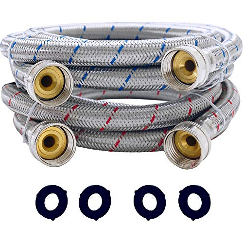 ManaCabana Washing Machine Hoses 6ft - Premium Braided Stainless Steel Washer Hose 2 pack - Burst Proof Hot and Cold Water Clothes Wash Inlet Supply Line 6 foot Long Hookup 3/4 inch FGH Connector