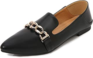 Women's Pointed Toe Flats, Large Size 1.5Cm Closed Toe with Metal Chain Comfortable Single Shoes in Various Colors Suitable for Everyday Walking