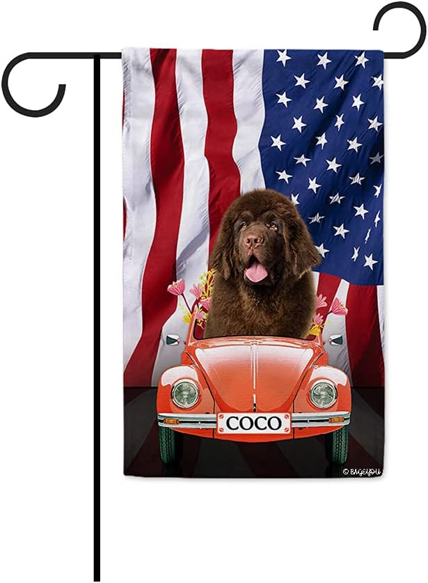 BAGEYOU Custom American Flag Patriotic Dog Garden Flag Cute Newfoundland Drives Vintage Beetle Car 4th of July Flowers Decor Home Banner for Outside 12.5x18 Inch Print Double Sided
