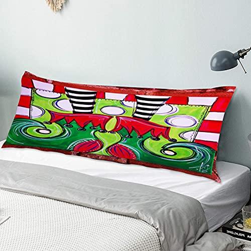 Personalizado Funda de Almohada Larga Suave,Duende Navideño Lindo Piernas Rayas,Funda de Almohada para el Cuerpo con Oculto Cremallera Cierre Microfibra Decor del Hogar Sofá para Dormitorio,54' x 20'