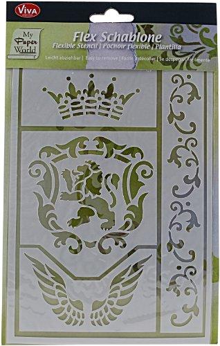 Pochoir flexible, feuille 21x14,8 cm, Couronne, Lion, Ailes - 4 motifs, 1 feuille