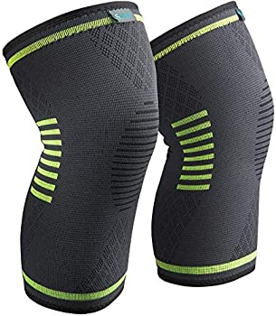 Sable Knee Brace 2 Pack Compression Sleeves Green Large