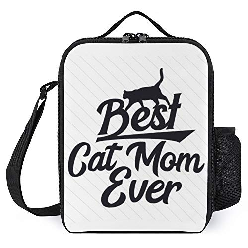 Lunch Bags, Best-Cat-Mom-Ever Insulated Meal Prep Lunch Boxes, Leakproof Cooler Tote Bags with Bottle Holder Rectangle For Boys Girls Kids Teens Back to School Lunch Bags, 10x9x3''