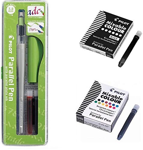 Blumie Bolígrafo Pilot Parallel Pen de 3,8 mm + 1 caja de 12 cartuchos de tinta Mixable Colour + 1 caja de 6 cartuchos negros + 1 regla marcapáginas de madera