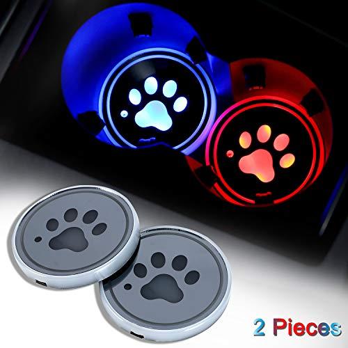 Paquete de 2 luces LED para portavasos, posavasos para coche con 7 colores cambiantes de carga USB, almohadilla luminiscente para decoración de ambiente interior