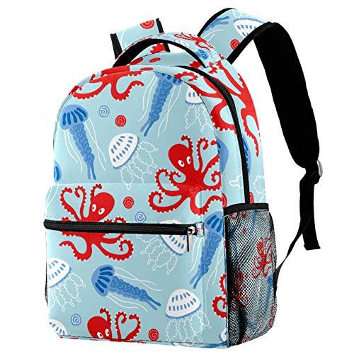 Mochila marina de pulpo rojo azul medusas Seashell School Bag Mochila de viaje casual para mujeres, adolescentes y niñas