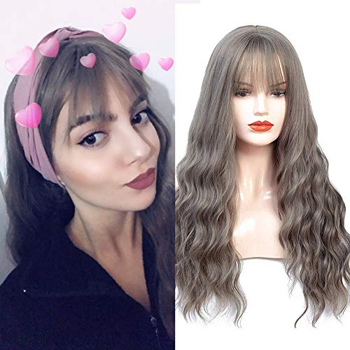 HUA MIAN LI Long Wavy Grey Wig With Air Bangs Silky Full Heat Resistant Synthetic Wig for Women - Natural Looking Machine Made 26 inch Hair Replacement Wig for Party Cosplay Body Wavy With Wig Cap