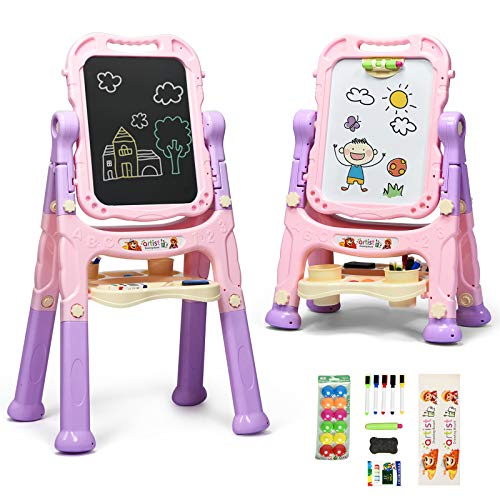 Costzon Art Easel for Kids, Height Adjustable 360° Rotate Double Sided Standing Art Drawing Board w/Chalkboard & Whiteboard, Portable Magnetic Drawing Set w/Art Accessories, Large Storage Tray (Pink)