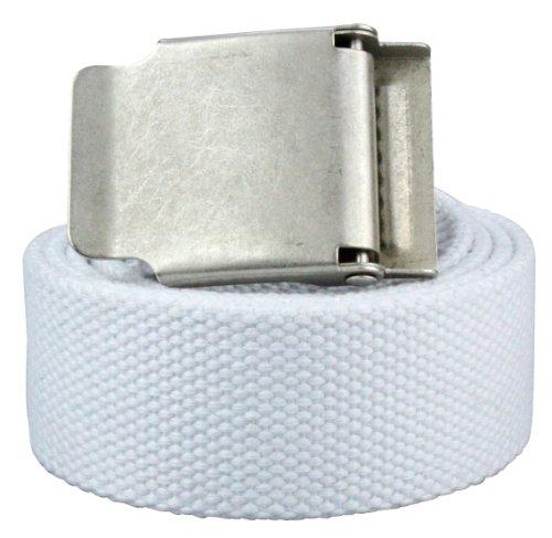 Alex Flittner Designs Hochwertiger Stoffgürtel in 4cm Breite mit Klappschnalle in weiss | Gesamtlänge: 130cm = Bundweite 115cm