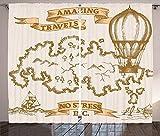 Waple Cortinas opacas ojete para sala de estar Mapa de viaje nostálgico vintage con veleros y globos aerostáticos 170*200cm Cortinas Opacas de Salón Dormitorio 3D Cortinas Termicas Aislantes con Anill