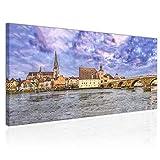 Topquadro XXL Wandbild, Leinwandbild 100x50cm, Regensburg,