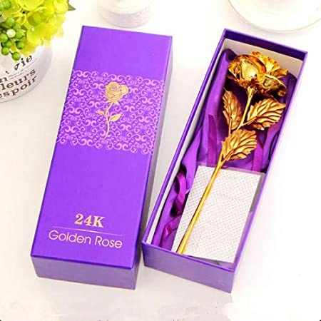 PRINCE SALES Artificial Rose with Gift Box (Gold)