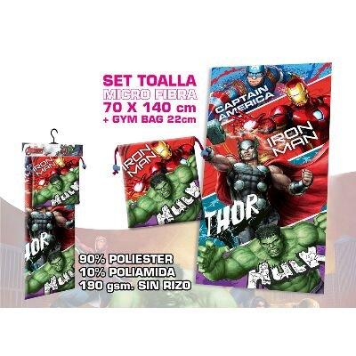 Kids Euroswan Toalla con Diseño Avengers, Poliéster, Azul, 2x26x70 cm