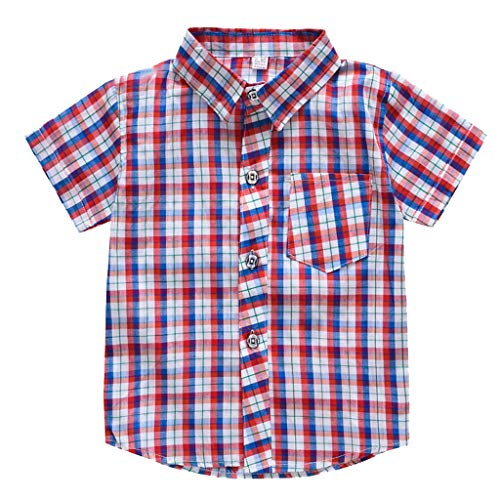 Julhold Toddler Baby Kids Boys Fashion Simple Stripe Plaid Pocket Casual Cotton T-Shirt Tops Casual Clothes 1-7 Years Red