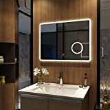 Meykoers - Espejo de pared para baño con iluminación LED (80 x 60 cm, espejo con aumento...
