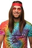 Hippie Set mit Perücke + runde Sonnenbrille + Peace Anhänger + rotes Kopfband für Herren & Damen...