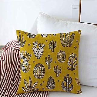 Funda de Cojine Throw Cojín Hogar Aislado Vivero Cactus Ornamento Patrón de flores Textura negra Mano blanca Texturas de la naturaleza Fundas de almohada de lino dibujado Fundas Cojines