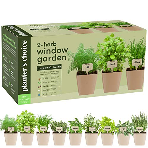 9 Herb Window Garden  Indoor Organic Herb Growing Kit  Kitchen Windowsill Starter Kit  Easily Grow 9 Herbs Plants from Seeds with Comprehensive Guide  Unique Gardening Gifts for Women amp Men