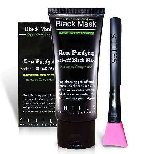 SHILLS Máscara negra, máscara despegable, máscara removedora de puntos negros, máscara de carbón, máscara de despegar puntos negros y kit de cepillo