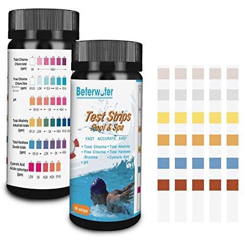 Beterwater Pool Test Strips, Pool Spa Test Strip for Swimming Pool Spa Hot Tubs Water 6-Way Test for Total Chlorine, Free Chlorine/Bromine, pH, Total Alkalinity, Cyanuric Acid, Total Hardness (50)