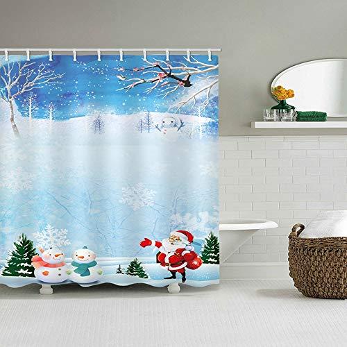 N / A Wasserdichter Bad Duschvorhang Weihnachtsmärchen Schnee Nacht Druckbad kann gewaschen Werden, Schimmel, schnell trocknend, Falten, wasserdicht & Schimmel Duschvorhang A3 150x180cm