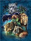 YEESAM ART Neuheiten Malen nach Zahlen Erwachsene Kinder, Wald Tiere Tiger Leopard Löwe 40x50 cm Leinen Segeltuch, DIY ölgemälde Weihnachten Geschenke (Tiere 1, Ohne Frame)