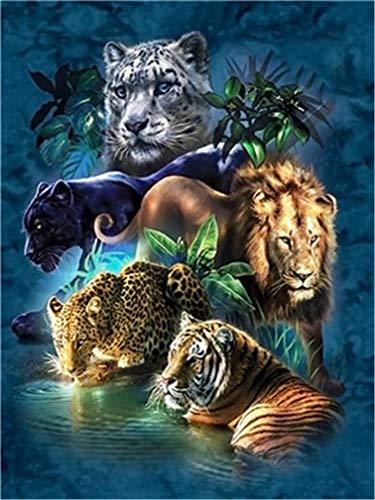 YEESAM ART Malen nach Zahlen Erwachsene Löwe Tiger Leopard Tier,16x20 Zoll DIY Ölgemälde Zahlenmalerei Öl Wandkunst (Bus, mit Rahmen) (Tier, mit Rahmen)