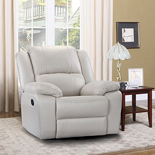 Divano Roma Furniture Oversize Ultra Comfortable Air Leather Fabric Rocker and Swivel Recliner Living Room Chair (Ivory)