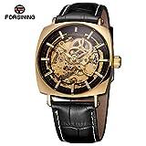 HWCOO Hermoso reloj mecánico FORSINING / 242 hombres reloj mecánico del reloj del caso de cuero de los hombres de la moda (Color : 1)