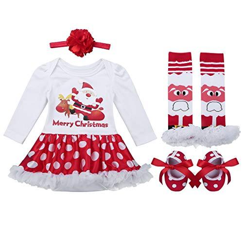 iiniim Bébé Nouveau né Robe de Noël Rouge Costume Pères Noël Fille Body Manche Longue Barboteuse + Bandeau + Chaussures + Jambières Vêtements de Noël Fête Partie 0-12 Mois Santa Claus 3-6 Mois