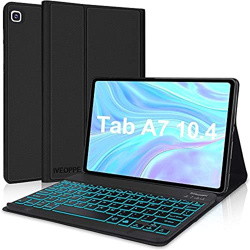 IVEOPPE Funda con Teclado para Samsung Galaxy Tab A7 2020 10.4'', Teclado Bluetooth 7 Colores Retroiluminada Español Ñ para Samsung Galaxy Tab A7 T505/T500/T507, Negro