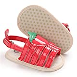 Isbasic Baby Girls Sandals Bohemia Flower Bow Soft Sole Toddler First Walkers Beach Summer Shoes(Strawberry/red 6-12 Months)