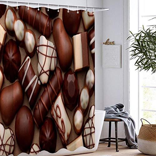 Brandless Schokoladenduschvorhang Badezimmervorhang 3D-Druck Wasserdicht Köstlich Bunt Kuchen Kuchen Duschvorhang-B180xH200cm