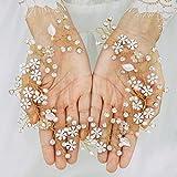 Handcess Diademas de boda con perlas de cristal y flores plateadas para el pelo de hojas de diamantes de imitación, accesorios para el pelo de novia para mujeres y niñas (dorado)