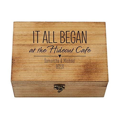 """Let's Make Memories Where It All Began Memento Box - Artfully Crafted Keepsake Case - Celebrate Love - Wood with Black Suede Lining - 9"""" x 7"""" x 3""""."""