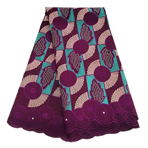 GAOXUQIANG Envío Suizo Africano Tela del cordón 5 Yardas de algodón Francesa Bordado de Malla Tela del cordón Guipure de Encaje en Color Oro para la Boda Africana,Púrpura
