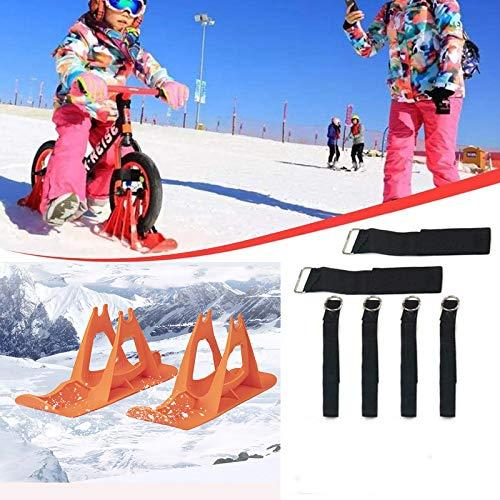 2Pcs Snow Ski Ski Set, 8-14 Pulgadas Bicicleta De Equilibrio para Niños, Skis Kids Snowboard Sled Ski Board Balance Bike Scooter Piezas De Ruedas,Naranja