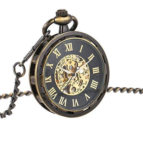 ManChDa para Hombre Steampunk Transparente Cara Abierta Reloj de Bolsillo Negro Esqueleto Esfera de Bronce Caso con Cadena + Caja de Regalo