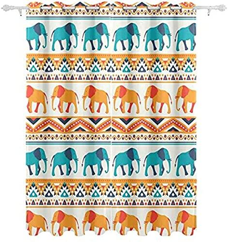 LUOWAN Tende Oscuranti Bambini Microfibra - 264x210 cm - Egitto vintage animale elefante - 95% Tenda oscurante Risparmio Energetico Moderne per cucina camera Letto Soggiorno Hotel