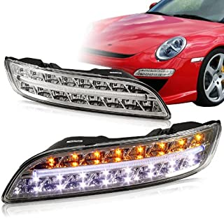 White/Amber LED Bumper Signal Lights compatible with 2005 - 2009 Porsche 911 997