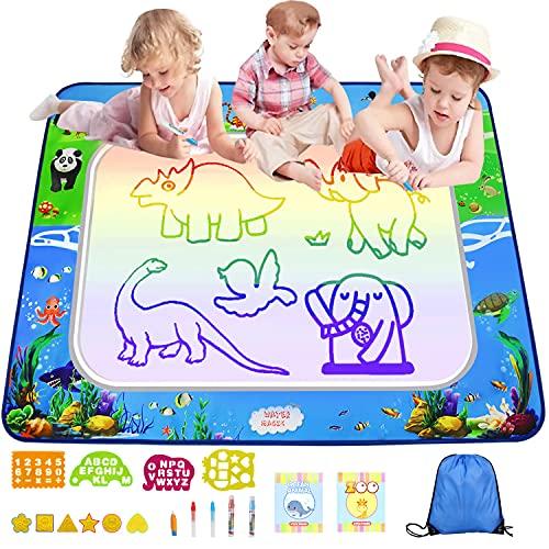 Tapis Dessin Enfant, 130*90cm Tapis de Dessin Eau Tapis doodle 5 stylos à Eau avec 7 Couleurs et Livret de Dessin etc, Cadeaux Jouets éducatifs pour Enfants