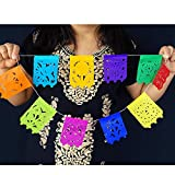 5 Pk Small Papel Picado Flags, Fiesta Banner Decorations 15 ft Long Multicolored Paper Garland with Round Scalloped Edges, Mexican Party Decorations for Cinco de Mayo, Weddings, Office Parties ws97